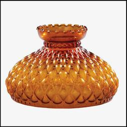 10 inch AMBER DIAMOND QUILT GLASS SHADE fits ALADDIN LAMPS,