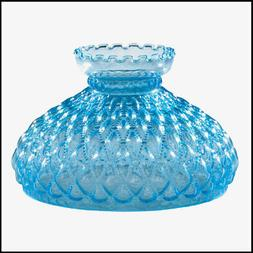 10 inch BLUE DIAMOND QUILT GLASS SHADE fits ALADDIN LAMPS, R