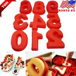 10 inch Number 0-8 Silicone Cake Mold Digital Non stick Cake