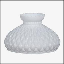 10 inch OPAL DIAMOND QUILT GLASS SHADE fits ALADDIN LAMPS, R