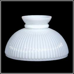 10 inch OPAL GLASS RIBBED SHADE fits ALADDIN LAMPS, RAYO, B&