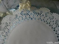 "10"" INCH WHITE PAPER FILIGREE WEDDING LACE DOILIES 25 PCS CR"