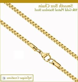 18K Gold Plated Stainless Steel Box Chain Bracelet Necklace