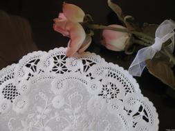 "25 10"" inch FRENCH LACE Paper Doily ORIGINAL Retired White F"