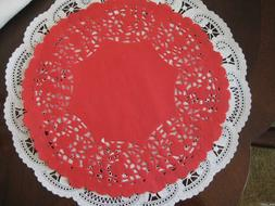 "25 PCS💜 10"" INCH ROUND RED FLORAL PAPER LACE DOILY CRAFT"