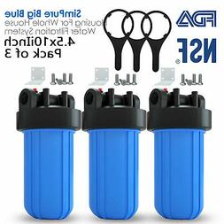 3PCS Big Blue Whole House Water Filter Housing 1-inch Outlet