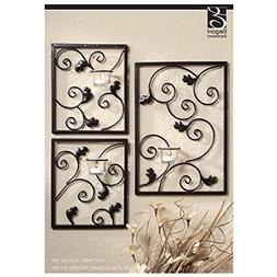 Hosley Set of 3 Wall Sconce Iron Tea Light Set - One Large 1