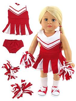 "Red and White Doll Cheerleader Outfit | Fits 18"" American Gi"