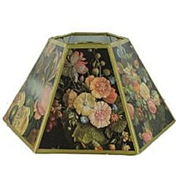 Upgradelights Black Floral 10 Inch Hex Shaped Chimney Style