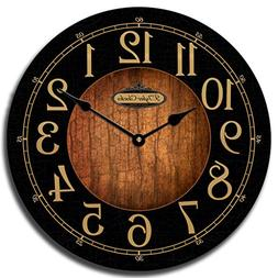 Black & Wood Wall Clock, Available in 8 Sizes, Most Sizes Sh