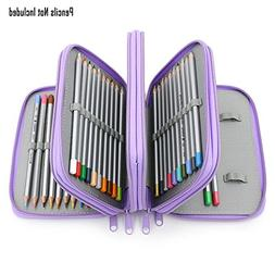 BTSKY Colored Pencil Case with Compartments-72 Slots Handy P