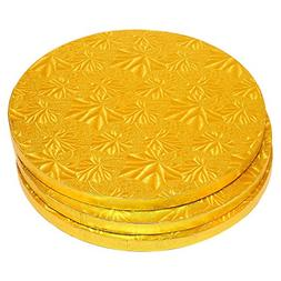 Cake Boards Rounds - 3 Piece Gold Foil Pizza Base Disposable