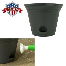 Flat Gray Self Watering Plastic Planters Flare Flower Pot in