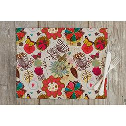 ArtzFolio Floral Table Mat Placemat Satin Fabric 15 x 10inch