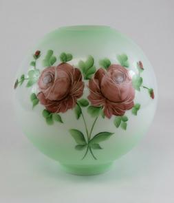 Green 10 Inch Ball Glass Lamp Shade with Painted Pink Flower