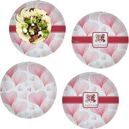 """Hearts & Bunnies Set of 4 Glass Lunch/Dinner Plate 10"""""""