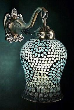 Indian Handmade Tiffany Turquoise Wall Light Lamp Sconces 10