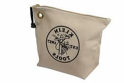 Klein Tools 5539NAT Canvas Zipper Pouch, 10-Inch Tool Bag St
