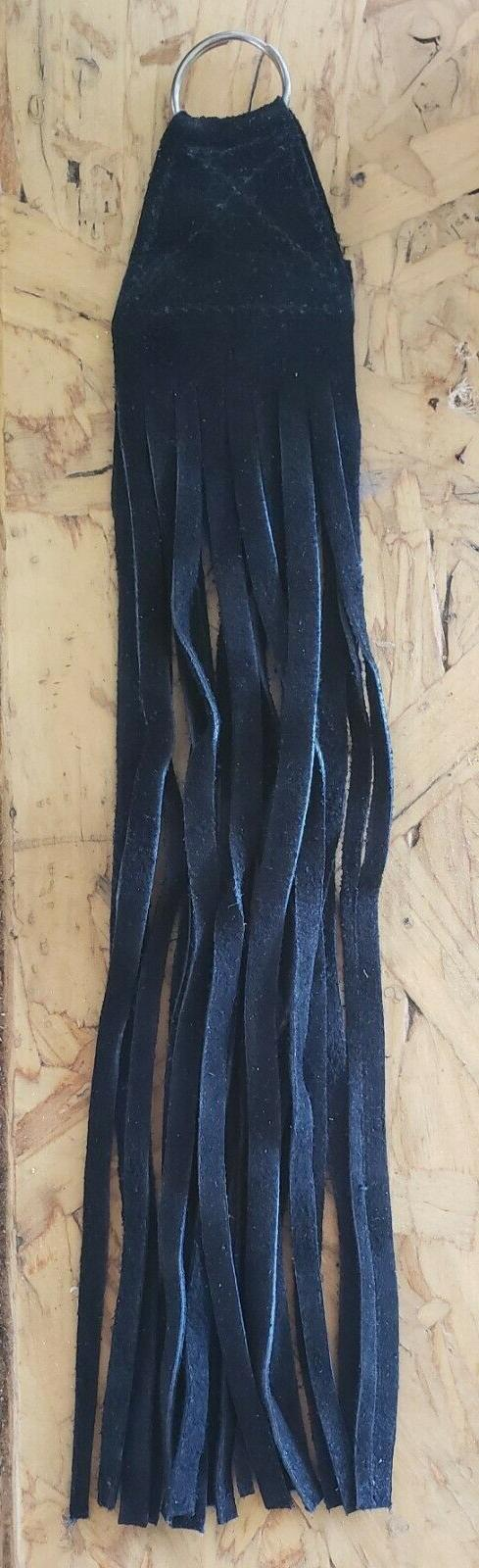 10 inch black leather fringe keychain