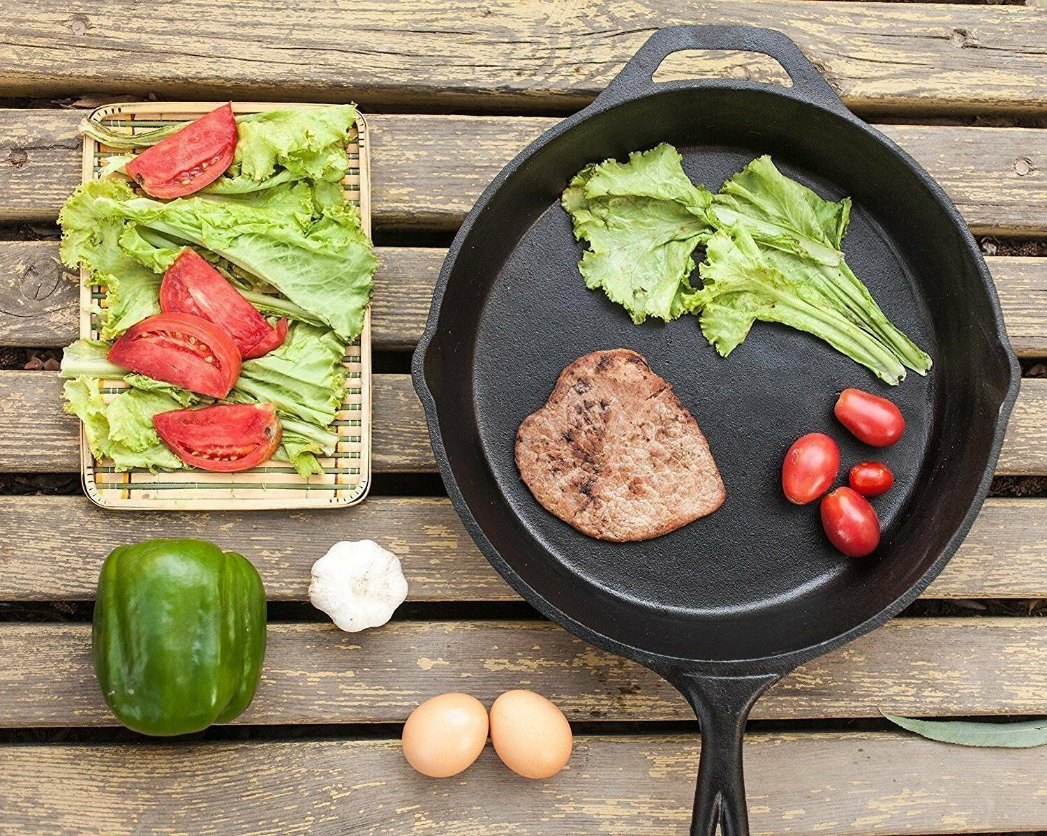 3 CAST IRON SKILLET Pre 10 Inch Stove Fry Pans