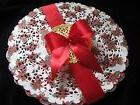 "36🎄pc 10"" INCH CHRISTMAS HOLIDAY PAPER LACE DOILY RED WHI"