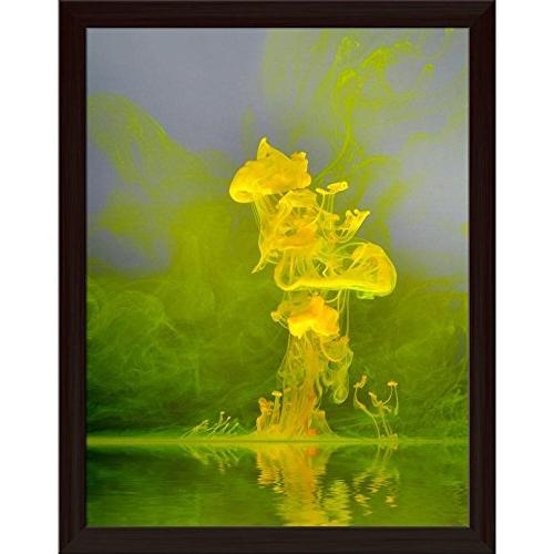 abstract floating yellow canvas painting