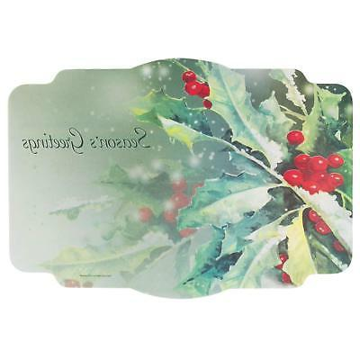 christmas holly greetings paper placemat
