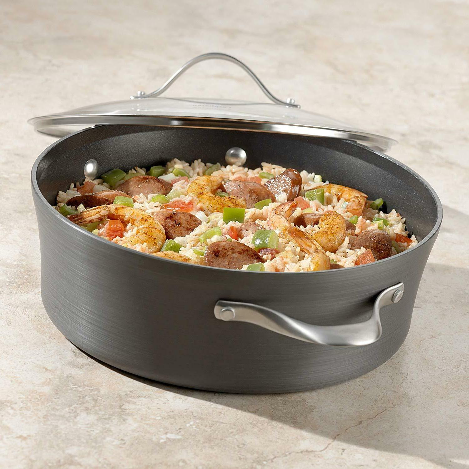 Contemporary Hard-Anodized Cookware Set