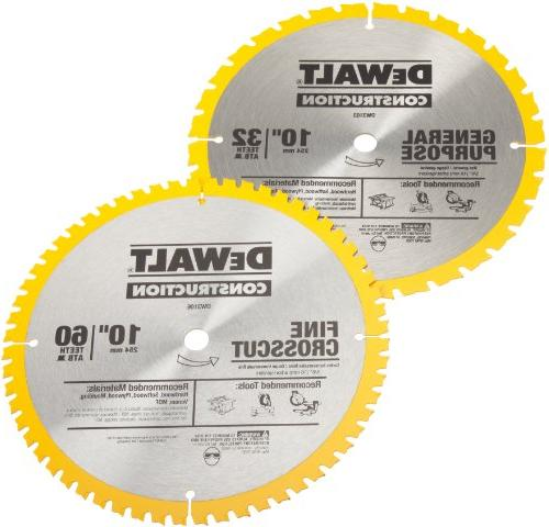 DEWALT DW3106P5 and 32-Tooth General Purpose 10-Inch Blade Combo Pack