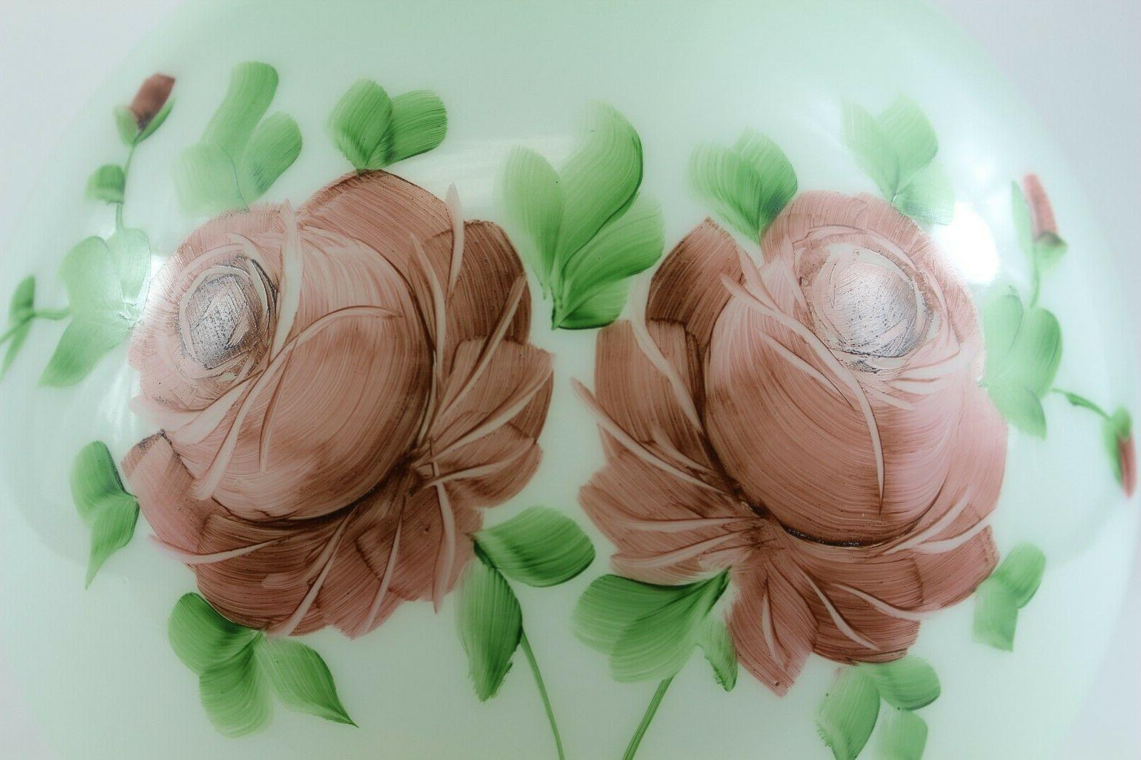 Green Glass Shade Painted Flowers 4
