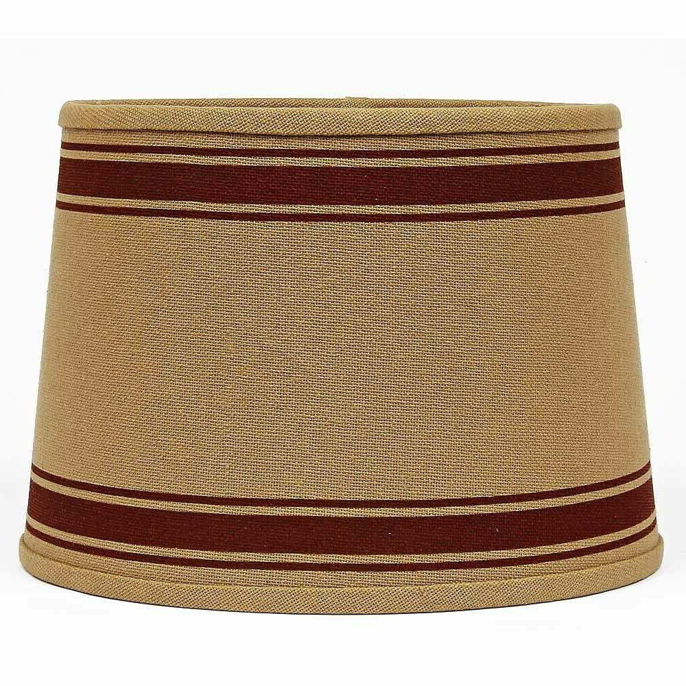lamp shade 10 inch drum burlap red