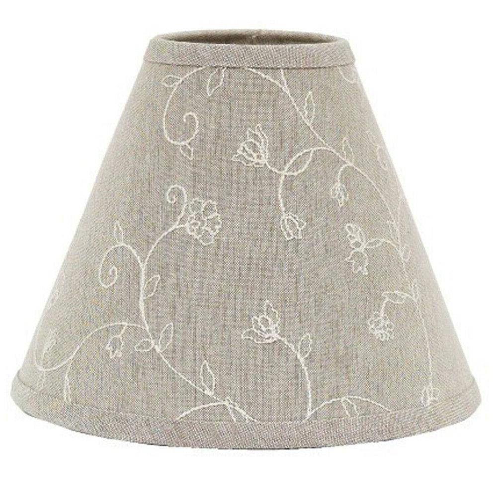 lamp shade 10 inch embroidered candlewicking taupe