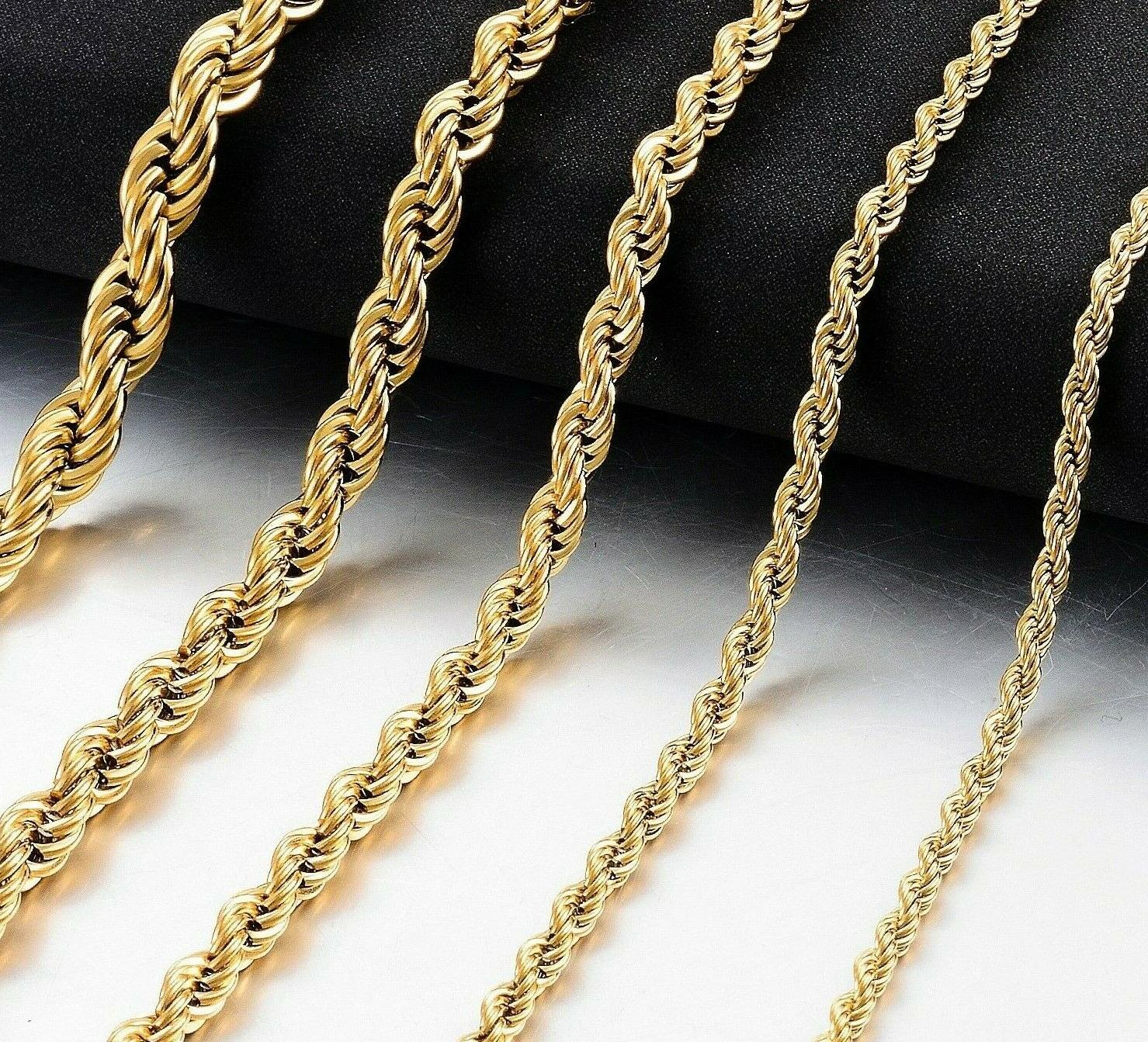 """Pure Real10K Gold 4mm Necklace 12-30""""Inch"""