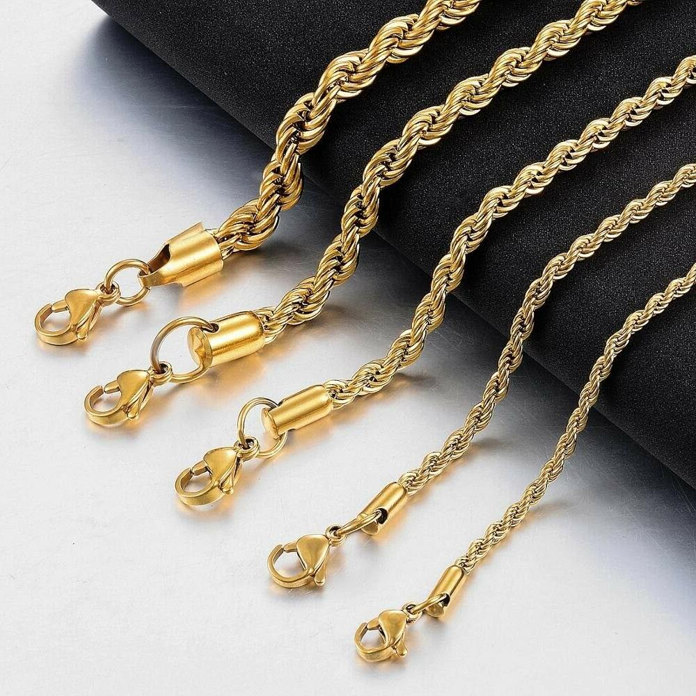"""Pure Solid Gold 4mm Necklace 12-30""""Inch Free"""