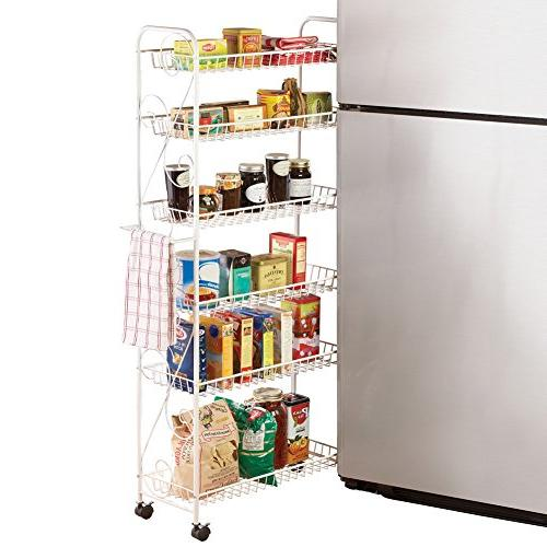 """Slim Rolling Pantry 6 Tier Shelf 10"""", by Collections Etc"""