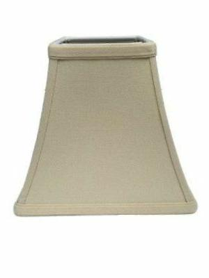 Upgradelights Beige Linen 10 Inch Square Bell Candle Stick C