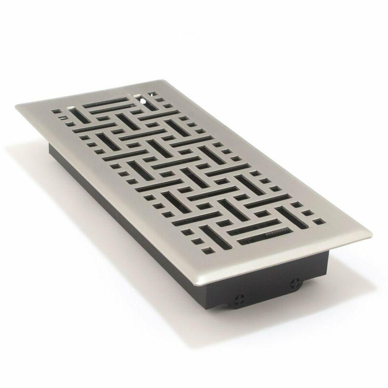 Accord Wicker Design Floor Register, Satin Nickel,