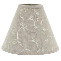 Lamp Shade 10 inch Embroidered Candlewicking Taupe Floral Ri