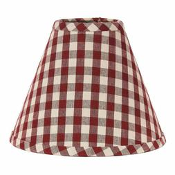 Lamp Shade 10 inch Red Tan Check Country Primitive Decor Rin