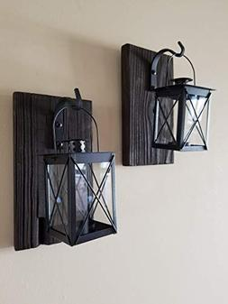 "Set of Two 10"" Reclaimed Wood Lantern Sconces with Black Can"