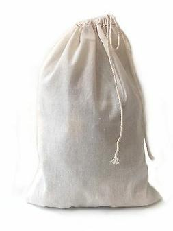 High Quality Large Muslin Cotton Drawstring Bag 8x12 inch 10