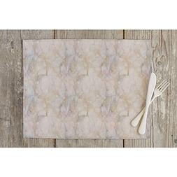 ArtzFolio Pink & Peach Marble Table Mat Placemat Satin Fabri
