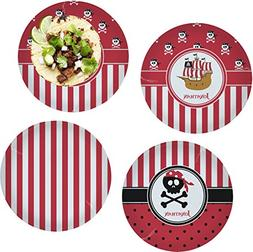 """Pirate & Stripes Set of 4 Glass Lunch/Dinner Plate 10"""""""