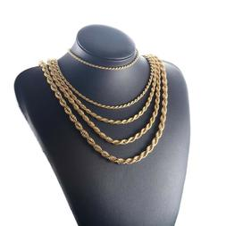 Pure Real10K Solid Yellow Gold 4mm Rope Chain Necklace 12-30