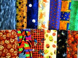 """SET OF 13 DIFFERENT HALLOWEEN 10"""" INCH SQUARES 100% COTTON A"""