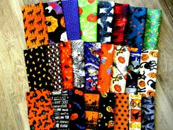 """SET OF 25 DIFFERENT HALLOWEEN 10"""" INCH SQUARES 100% COTTON A"""