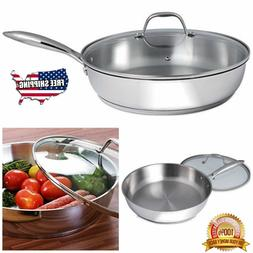 Stainless Steel Skillet With Lid 12 Inch Frying Pan Non Stic