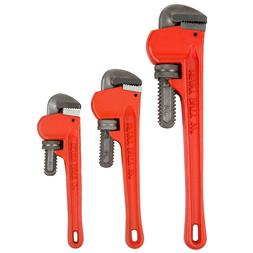 Stalwart 3 Piece Heavy Duty Pipe Wrench Set 8, 10, and 14 In