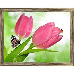 ArtzFolio Tulip with Butterfly & Ladybug Canvas Painting Ant