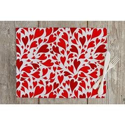 ArtzFolio Valentine Hearts Table Mat Placemat Satin Fabric 1